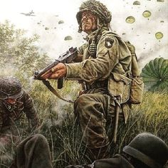 Airborne paratrooper, circa World War 2 Military Art, Military History, World History, World War Ii, Ddr Museum, 101st Airborne Division, Military Drawings, Military Pictures, Band Of Brothers