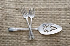 Vintage Wedding Silverware (by Wooden Hive) via EmmalineBride.com