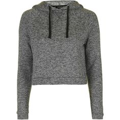 TopShop Sporty Loungewear Hoodie ($32) ❤ liked on Polyvore featuring tops, hoodies, shirts, sweaters, jackets, grey, grey crop top, cotton shirts, crop top and gray shirt
