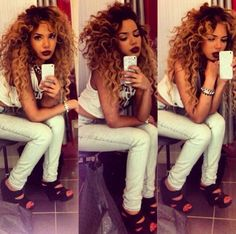 Lip color. Love her hair too, but not even in my dreams would mine ever look like that.