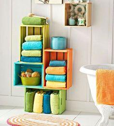 painted wood crates as a fun storage for a family bath - 17 Repurposed DIY Bathroom Storage Solutions Creative Bathroom Storage Ideas, Bathroom Towel Storage, Bathroom Storage Solutions, Bath Storage, Diy Storage, Bathroom Ideas, Bathroom Interior, Storage Design, Storage Bins