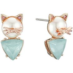 Betsey Johnson Pearl Critters Cat Stud Earrings ($25) ❤ liked on Polyvore featuring jewelry, earrings, gold tone earrings, betsey johnson earrings, post earrings, pearl jewellery and stud earring set