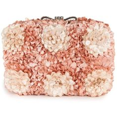 Darling Women's Sophia Flowers Blush Pink Hard Case Clutch ($64) ❤ liked on Polyvore