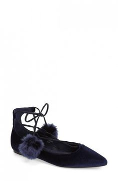 Topshop Finest Pointy Toe Ghillie Flats