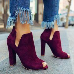 Cute suede heels with trendy fringed denim jeans. #Highheels