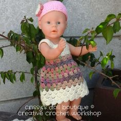 Get baby ready for Spring with this easy to crochet Spring flower Set - that includes a dress, bodysuit, matching beanie, lovey and blanket. Baby Alive Doll Clothes, Baby Born Clothes, Bitty Baby Clothes, Baby Alive Dolls, Barbie Clothes, Baby Dolls, Crochet Doll Clothes, Knitted Dolls, Doll Clothes Patterns