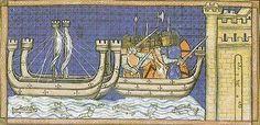 Manuscript Illumination of the Attack on Damietta  Louis leads his Crusaders