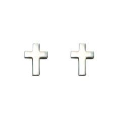 Sterling Silver Small Cross Earrings on SonGear.com - Christian Shirts, Jewelry Cross Earrings, Stud Earrings, Christian Shirts, Chevrolet Logo, Sterling Silver, Jewelry, Art, Beauty, Products