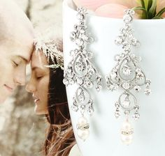 Bridal Earrings, Fabulous Austrian Crystal Drop Style, Wedding Earrings-- $39