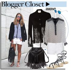 How To Wear Blogger Style Suede Fringe Jacket&Silk shirt&denim shorts&fringe bag&roman sandals Outfit Idea 2017 - Fashion Trends Ready To Wear For Plus Size, Curvy Women Over 20, 30, 40, 50