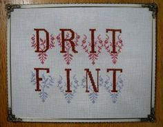 Geriljabroderi - Drit fint - Broderings kit fra Stygge Sting Funny Embroidery, Hardanger Embroidery, Cross Stitching, Funny Images, Art For Kids, Needlework, Alphabet, Arts And Crafts, Crafty