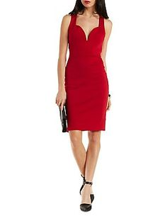 Woven-Back Sweetheart Bodycon Dress: Charlotte Russe