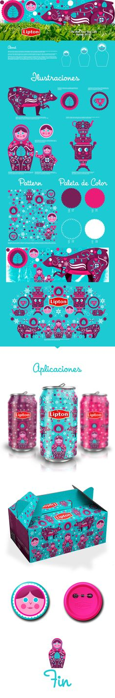 LIPTON - NEW YEAR EDITION 2016 on Behance by Jhonny Núñez Cali, Colombia.  Illustration and pattern design for the especial edition packaging for Lipton brand in Russia. PD