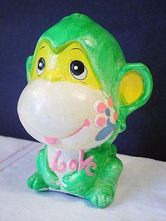 Vintage Paper Mache Green Love Monkey Bank 1973. $9.95, via Etsy.