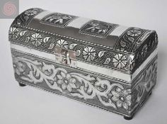 EMBOSSED METAL JEWELLERY BOX WITH ELEPHANT DESIGN