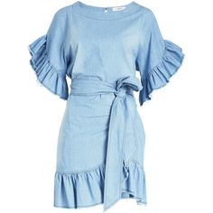 Isabel Marant Étoile Lelicia Cotton Dress (€426) ❤ liked on Polyvore featuring dresses, blue, flutter-sleeve dresses, ruffle dress, blue dress, mini dress and short cotton dress