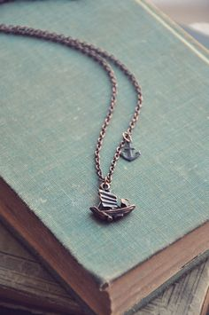 Nautical Necklace boat and anchor + Sea Green Book