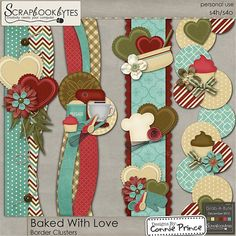 Baked With Love - Border Clusters :: Page Edges :: Embellishments :: SCRAPBOOK-BYTES