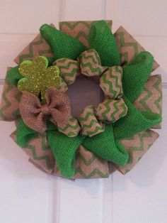 Burlap Wreath St. Patricks Day Wreath St. by SunDropBoutique