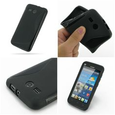 PDair Soft Plastic Case for Huawei Ascend Y511 (Black/S Shape pattern)