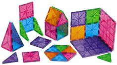 "#LakeshoreDreamClassroom  Magna-Tiles     Our translucent magnetic tiles give students a fun way to explore geometry concepts…as they build! The plastic tiles have magnets built right in, so they stick together from every side—as students explore symmetry, area & perimeter, angles and more. Each set features 5 different shapes in 5 colors; large squares measure 6""."