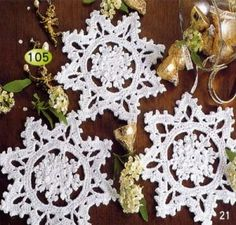 Crocheted snowflakes