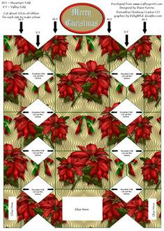 Poinsettia Christmas Cracker 2  on Craftsuprint designed by Diane Furniss - A Cute Christmas Cracker Shaped Box.Great for a decoration on your Christmas table or a very special giftor just fill with sweets and the guest will love them.I made them to take to the Nursing home for the people who don't have families to take them for the holidays. - Now available for download!
