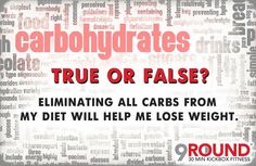 True or False? Eliminating all carbs from my diet will help me lose weight? FALSE! Not all carbs are bad carbs! In fact, your body needs certain carbs in order to build muscle and burn fat. As part of our 9Round program, we will teach you how to EASILY manipulate carbs, as well as proteins and fat to get the results you want and keep off unwanted weight FOR GOOD. Want more info? We're opening SOON. Take advantage of our pre-opening special: https://www.9round.com/fitness/Cherry-Hill-NJ-x8829…