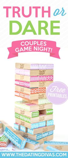 or Dare couples date night idea with FREE PRINTABLES! The Dating Divas really hit it out of the park with this one!Truth or Dare couples date night idea with FREE PRINTABLES! The Dating Divas really hit it out of the park with this one! Truth Or Dare Jenga, Truth And Dare, Couples Game Night, Night Couple, Date Night Games, Dating Divas, Dating Advice, Marriage Advice, Truth Or Dare Questions