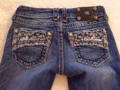 Miss Me Jeans 25 x 33 Bling Pockets Skinny Fit Distressed Thick Stitching tall #MissMe #SlimSkinny