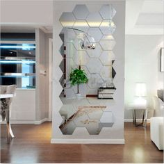12pcs Acrylic Silver 3D Hexagonal Mirror Wall Stickers Home Decor Removable New | Home, Furniture & DIY, Home Decor, Wall Decals & Stickers | eBay!