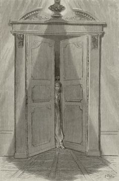 """Doré for """"The Raven"""" - plate 9 - Some Late Visitor"""