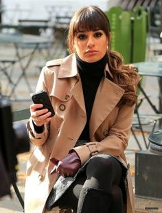 Lea Michele chilling in-between shooting sets with her CandyShell for iPhone 5
