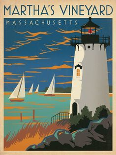 Anderson Design Group Premium Thick-Wrap Canvas Wall Art Print entitled Martha's Vineyard, Massachusetts - Retro Travel Poster, None Party Vintage, Love Vintage, Design Vintage, Vintage Style, Vintage Hawaii, Vintage Inspired, Kunst Poster, Poster S, Vintage Advertisements