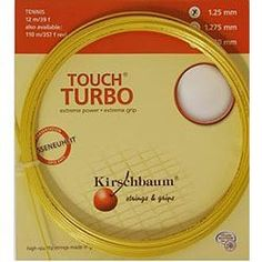 """Kirschbaum Touch Turbo 16G (1.30mm) Tennis String by Kirschbaum. $13.00. Kirschbaum Touch Turbo utilizes the latest technological advances made by Kirschbaum in the monofiliment arena. Kirschabum's goal was to create a string that could provide both comfort and intense power. This string needed to meet the rigorous demands of the playing elite.The solution - Touch Turbo Elavated elasticity and """"Turbo"""" fastExtreme comfort (less arm strain) without the tension loss norm..."""