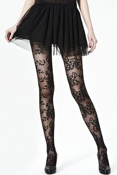 Flower Lace Black Tights. Didn't Blair Waldorf wear something like this before?! LOVE LOVE