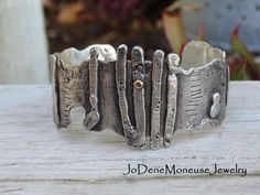 Sterling silver and 14k gold cuff for a man or a woman, size large ON SALE! $165.00 by JoDeneMoneuseJewelry