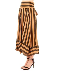 932c5587ccd375 PETAR PETROV Striped silk skirt high waist leather insert long bow on the  back 100%