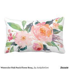 Watercolor Pink Peach Flower Bouquet Lumbar Pillow Nov 29 2016 @zazzle #junkydotcom  2x