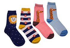 Poppidot Lion and Giraffe Socks  4 Pair Pack Pet Cute Fashion Casual Colorful Mixed Comfortable ** Read more reviews of the product by visiting the affiliate link Amazon.com on the image.