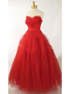 50's Vintage Dresses-50s Strapless Red Tulle Evening Dress Ball Gown