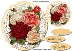 Beautiful Roses in a Stitched frame , by Ceredwyn Macrae A lovely card to make and gicve to anyone with beautiful roses in a stitched frame  has two greeting tags and a blank one ,