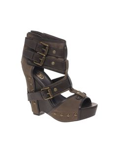 Ash Lyn Chunky Denim Strapped Wedge Sandals