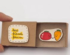 """Friendship Card/ Friend Valentine Matchbox/ Gift box/ """"Good friend don't let you do stupid thing alone""""/ Notes For Friends, Diy Gifts For Friends, Diy Crafts For Gifts, Friendship Day Gifts, Friendship Cards, Funny Birthday Cards, Handmade Birthday Cards, Friend Birthday, Diy Birthday"""