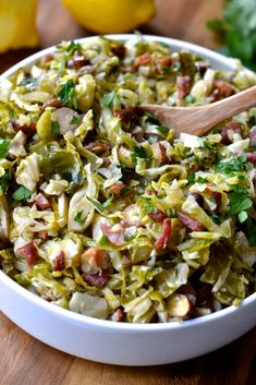 Shaved Brussel Sprouts with Bacon, Hazelnuts and Lemon - paleo, whole30