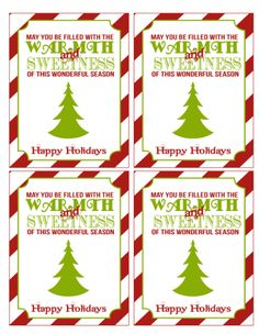 Free printables holiday tags and mini candy bar wrappers.