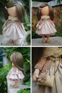 Art doll handmade grey peach Gift doll House by AnnKirillartPlace