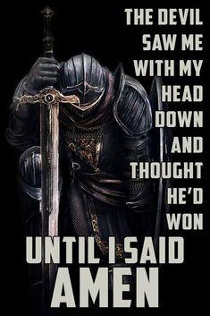 KT015 - Until I Said Amen - Knight Templar Poster Dark Fantasy Art, Dark Art, Art Dark Souls, Christus Tattoo, Art Noir, Crusader Knight, Christian Warrior, Warrior Tattoos, Angel Warrior Tattoo