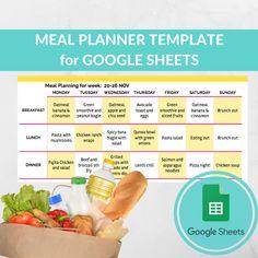 Meal Planner Template Spreadsheet -Grocery Planning Excel Google Sheets - Weekly Menu Planner - Recipe Book Template - Best Grocery List Recipe Book Templates, Food Menu Template, Meal Planner Template, List Template, Planning Excel, Menu Planning, Google Docs, Weekly Menu Planners, Meals For The Week
