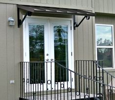 The Classic metal awning in Bronze over double doors in Edenton, NC Metal Door Awning, Front Door Awning, Window Awnings, Door Entryway, Foyer, Double French Doors, Classic Doors, Canopy Design, House Front